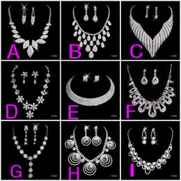 China New Crystal Silver Rhinestone Necklace Earrings Jewelry Sets Girl and Women Prom Cocktail Homecoming Dress Party Bridal Gowns Wedding 2019 supplier earring round face suppliers