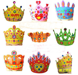 Wholesale 200PCS EVA Foam DIY Birthday Crown Hat Caps for Children Birthday Party Self-adhesive DIY Handmade 3D Eva Crown Hat Craft Kits