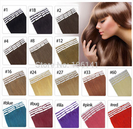 Ingrosso 19 colori Capelli indiani Skin Weft Remy Double Sided Nastro in su Extensions Human Hair 20pcs / lot