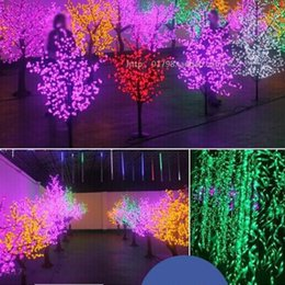 Discount beautiful christmas lights trees Beautiful LED Cherry Blossom Christmas Tree Lighting P65 Waterproof Garden Landscape Decoration Lamp For Wedding Party C