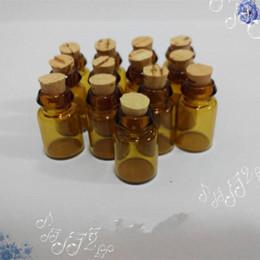 $enCountryForm.capitalKeyWord Canada - 100 pcs 1ml Brown Glass Bottles with Cork For Essential Oil,Perfume Refillable Glass Sampling , mini glass 1 ML Deodorant bottle