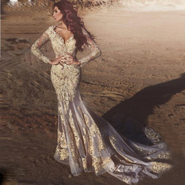 Wholesale wedding dress sayings resale online - New Exquisite Lace Applique Wedding Dresses Said V Neck See Through long sleeve mermaid Wedding Dress Organza Court Train Bridals Gown