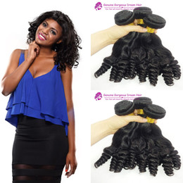chinese machines NZ - Brazilian Hair 3 bundles Aunty Funmi Hair bundles Funmi curl natural color double drawn virgin Malaysia hair double drawn machine weft