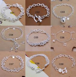 wholesale pentagram bracelets 2019 - Fashion 10 Styles Mixed Bracelet women 925 sterling Silver Silver bracelet Pentagram, heart-shaped love Bracelet Jewelry