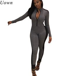 Barato Sexy Lady S Bodysuit-Atacado- Lady Stripe bainha One Piece Outfits Jumpsuit Romper Mulheres manga comprida Zipper V-Neck Sexy Bodycon Jumpsuits Bodysuit Overalls