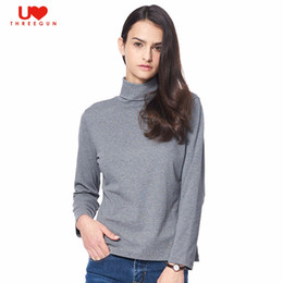 Barato Manga Comprida Mulheres-Atacado-THREEGUN AutumnWinter Underwear Basic Tops Tee Mulheres de manga comprida T-shirts Modal Turtleneck Pullover Female Casual Undershirts