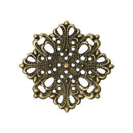 "Jewelry Findings Embellishments Findings Filigree Wraps Connectors Flower Antique Bronze 4.4cm x 4.4cm(1 6 8"" x1 6 8""),100 PCs on Sale"