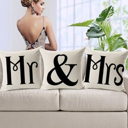 Wholesale Mr Mrs Cushion covers Love Couple Thick Linen Cotton Pillow Cases X45cm Pillow Covers Sofa Chair Seat Decoration