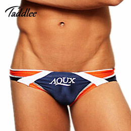 Slip Basse Taille Pas Cher-Sexy Men Swim Breves Marque AQUX Basse Taille Hommes Maillots de bain Maillot Basse Taille Hommes Natation Bref Gay Penis Pouch WJ Hommes Surf Wear
