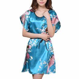7f95a9f983 Wholesale- Plus Size Women s Faux Silk Robe Bath Gown Nightgown Light Blue  Sexy Summer Sleepshirts New Style Sleepwear Pijama