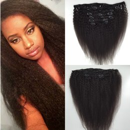 kinky coarse clip extensions Australia - Brazilian Kinky Straight Clip In Human Hair Extensions 7Pcs Set Italian Coarse Yaki Clip In Hair Extensions 120g 7pcs lot