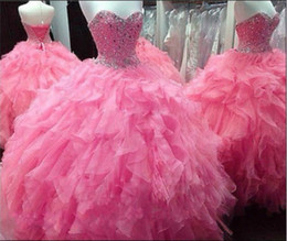 Wholesale Sparking Crystal Beaded Quinceanera Dresses Ball Gown Cascading Ruffles Vestidos de Festa years Girl hot pink Prom Gowns plus size