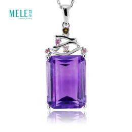 Южной Африки природный кристалл драгоценный камень аметист кулон Серебряное ожерелье кулон простой тенденции моды женщин ювелирные изделия для подарка на Распродаже
