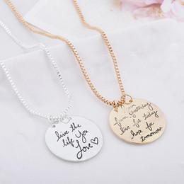 pendant couples wholesale love letter 2019 - Live The Life You Love Reversible Pendant Choker Necklace Alloy Fashion Alphabet Retro Clavicle Chain Pendant Couple Nec