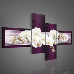 4 piece canvas art online shopping - Handmade piece Purple Modern Decorative Oil Painting On Canvas Wall Art White Flower Picture For Living Room Wall