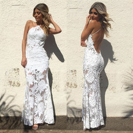 Barato Elegante Branco Backless Vestido De Noite-Sexy Sheath Mermaid Evening Gowns Halter Full White Lace Applique Backless Prom Dress Elegante Lady Custom Made Formal Dresses