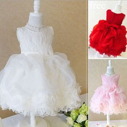 beautiful red dresses free shipping 2019 - free shipping 2015 girls lace TUTU dress wedding dress party dress girls beautiful Princess dress cheap beautiful red dr