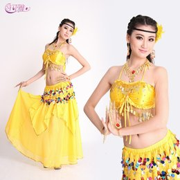 f5d07677f6 2019 New Indian Bra Belly Dance Costumes Double Color Sequins Skirt with  Waist Chains Stage Wear 3 Pieces Suit A0329
