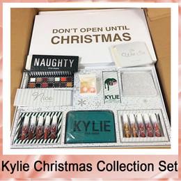 Kylie Jenner Lipstick Collection Australia - Kylie Jenner Kyshadow Kit Xmas Holiday Collection Set Naughty & Nice Eyeshadow The Wet Set Velvet Liquid Lipsticks & Lip Liner Makeup Box-1