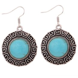 Edging Earrings Canada - Round Vintage Pattern Edge Design Tibetan Silver Earrings Turquoise Women Gift For valentine's Day