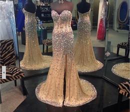 Discount beaded rhinestone mermaid wedding dress - 2016 Sweetheart Neckline Mermaid Champagne Pageant Prom Dresses Crystals Wedding Party Dresses Rhinestones Long Evening