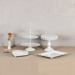 Cupcakes Styles NZ - White Cake Rack European Style Metal Iron Dessert Holder For Wedding Lace Cupcake Stands Baking Tools High End 95ds B