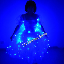 Barato Desgaste Iluminado Da Dança-M1130 Party ballroom dance wear Led light costumes stage vestuário luminoso saia ballet festa cosplay casamento bar dj discoteca vestido