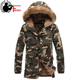 Barato Verde Para Baixo Jaqueta Homens-Mens Long Winter Camouflage Jacket Fur Hooded Down 2017 Outwear Thick Military Style Parkas Masculino Big Coats Army Green Camo 3XL
