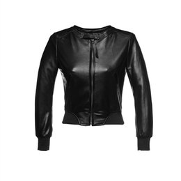 Vestes En Cuir Noir Et En Cuir Véritable Pas Cher-Gros-Genuine Leather Jacket Women Sheepskin Zipper Jaqueta De Couro Femmes Manteaux et vestes d'hiver 2015 Black Leather Jacket