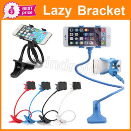 Wholesale Two Clips cell Phone Holder Bed Desktop Moblie phone Stand Degrees Universal Flexible Extendable Lazy Bracket For Iphone Samsung HTC