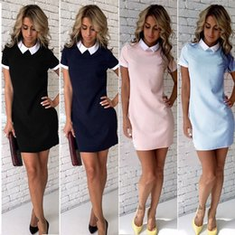 Robes De Club En Gros Sexy Pour Femmes Pas Cher-Vente en gros- Femmes Sexy Summer Dress Casual Manches Courtes Solide Femme Turn Down Collar Womens Office Robes Femme Courte Mini Robe tenues