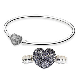 China Moments Mother's Day Gift Bangle Always in My Heart with Clear CZ 100% 925 Sterling Silver Beads Fit Pandora Charms Bracelet Fashion Jewelry suppliers
