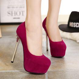 77980dc9c11d 2016 Chic rivets ultra high heels zapatos women wedding shoes high platform  pumps fuchsia black purple 145mm size 34 to 39