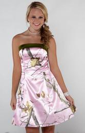 $enCountryForm.capitalKeyWord Australia - Pink Camo Bridesmaid Dresses Short Realtree Camouflage Dresses A Line Homecoming Dresses Strapless Wedding Party Dresses