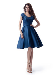 pink short bridesmaid dress UK - Navy Blue Short Sleeves Bridesmaid Dresses Short Lace Top Satin Skirt Informal Country Style LDS Bridesmaid Robes New Sale