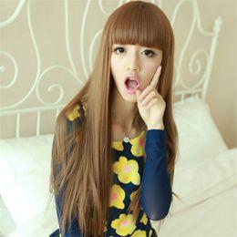 Peluca larga cosplay pelucas sintéticas rectas del pelo de las mujeres  naturales atractivas señoras peluca del b62dee9d312d
