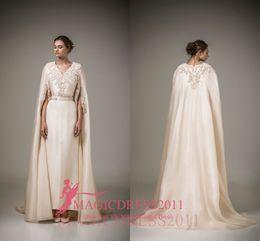 backless boned wedding dress 2019 - Charming Ivory Evening Dresses Ashi Studio Caftan Arabic Long Formal Prom Gowns Arabic 2016 A-Line V-Neck Crystal Weddin