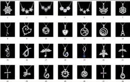 Discount silver crown cross necklace - 50pcs Mix 50 styles 925 silver plated crystal flowers crown tower heart cross Charm pendant necklace fashion jewelry