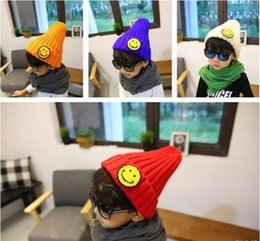 Chinese  2017 new cute smile children wool hat boys and Girls Knitted Hat warm cold-proof earmuffs cap wholesale manufacturers