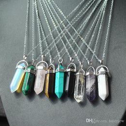 Halskette Goldkette Silber Edelstahl Schmuck Naturstein Anhänger Erklärung Halsketten Halsketten Rosenquarz Heilkristalle Halsketten im Angebot