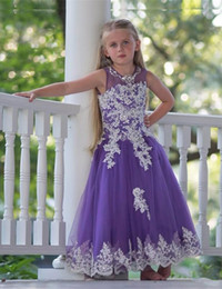 ankle length dresses for girls NZ - Ankle length tulle flower girls dresses for weddings 2018 jewel neck applique bodice princess party gowns
