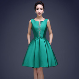 Wholesale drop ship bandage dress for sale – plus size Green Fashion Scoop Neck Ball Gown Cocktail Dress With Beads Knee Length Party Dress Drop Shipping