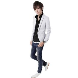 Vendre Un Costume Blanc Pas Cher-Gros-Men Fashion Nouvelle Collection Multicolor solide revers à manches longues Bonnes ventes Outwear Suit Casual Blanc / Royal M / L / XL / XXL