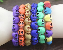 Polymer Bracelets NZ - 2015 Hot sales Products 20pcs lot Beaded 10MM Polymer clay beads Skull Elastic Bracelets for Men and Women's Gift