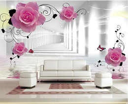 Roses Butterflies Canada - Papel de parede Fashion Rose Butterfly Corridor mural wall sticker new large wallpaper wall paper costomize size 9000315