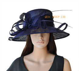 Wide Brim Navy Hat Canada - Wide brim navy blue Dress Church Sinamay Hat with ostrich spine for Kentucky Derby,wedding,party,Ascot