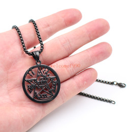 black rolo chain Australia - FREE SHIPP Black Stainless Steel Large 32mm Geometric Religious geometric JEWISH pentagram Wicca Pendant necklace rolo chain 3mm 18''-32''