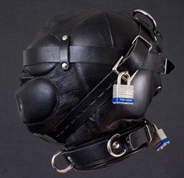 Esclavage Cuir Bouclier Pas Cher-New Bondage Full Leather CAPUCHON TOTAL SENSORY PRIVATION BONDAGE avec boucles de verrouillage Sex Headgear, SM011