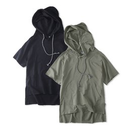 $enCountryForm.capitalKeyWord Canada - Wholesale free shipping men cotton loose stright oversized drop shoulder cut botton strings hooded pullover t shirts clothes