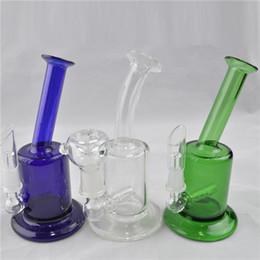 $enCountryForm.capitalKeyWord Canada - Glass Water Bongs Bubbler Hookah 6 inch Height Shisha Free 10mm Best Oil Rig Recycler Thick Bubbler Strainer Blue Clear Green Heady Hookah